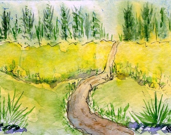 Original Watercolor ACEO Art Card, Summer Path, Country, OOAK Painting