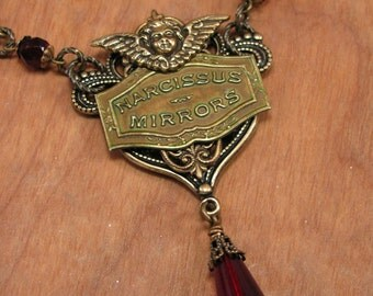 Vintage Inspired Jewelry - Vintage Narcissus Mirrors Brand Mirror Tag Ruby Beaded Cherub Embellished Filigree Pendant Necklace