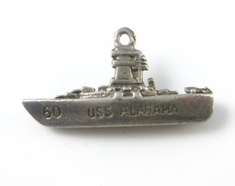 Vintage Sterling Silver USS Alabama Battle Ship Boat Charm 75 Year Anniversary