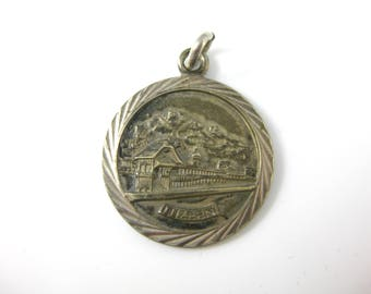 Vintage Luzern Germany 800 Silver Landscape Charm Pendant with Etched Silver Frame