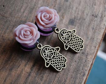 "9/16""  (15mm) Hand of Fatima Charm with Pal Purple Rose Plugs. Dangle Plugs, gauges 15mm. Pink Sparkle with Hamsa Charm"