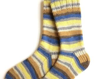 Handknit Socks for Women, Girls, Merino Wool Cashmere Blend Socks, DK weight, striped socks, yellow blue tan socks, knitted socks, fun socks