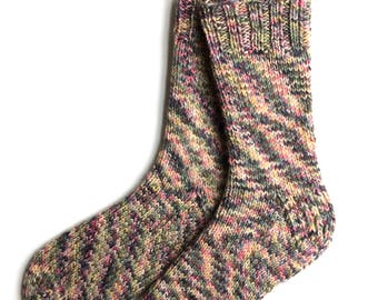 Socks for Women and Girls, Hand Knit Socks, Wool Socks, knitted socks, worsted weight socks, green blue pink yellow socks, OOAK, heavy socks