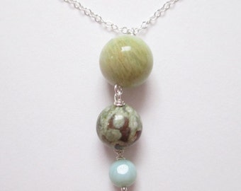 Amazonite necklace, happy planets, rhyolite drop necklace, sterling and stone