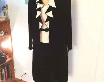 1960s Does 1920s Velvet Flapper Gown with Jacket