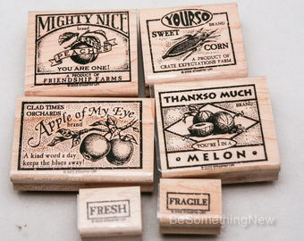"""Stampin Up Rubber Stamps, Wood Mounted Stamp Set from 2003 """"Farm Fresh"""" Retired Message Stampin Up Set Farm Label Set Apple Melon Peach Corn"""