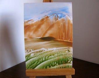 ACEO Blue Skies, Brown Hills - Encaustic Wax Original Art - Blue, Rust Brown, Green. SFA (Small Format Art)