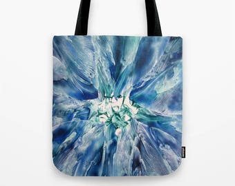 Aquamarine Geode Custom Tote Bag / Encaustic Art on Tote / Book Tote / Market Tote / Available in 3 Sizes / Made to Order