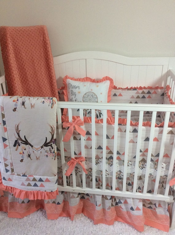 Baby Girl Crib Bedding Set Peach Coral Tan Blue Boho Feather