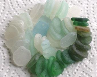 46 Sea Glass Shards Dangles Top Drilled 1.5mm holes Imperfections Supplies (1976)