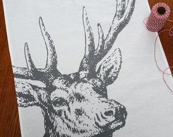 Reindeer Stag Christmas tea towel