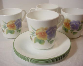 Vintage Corelle Summer Blush Tall Cups and Saucers Retired Pattern Set of 4