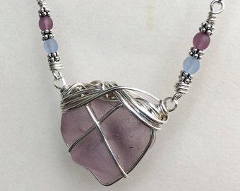 Dark Lavender Seaglass  OOAK necklace