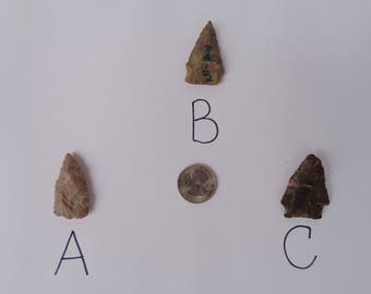 Authentic Cherokee Indian arrowheads . Authentic arrowheads from Tennessee, USA.
