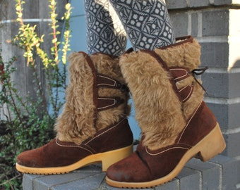 Vintage 70's Furry Suede Winter Boots