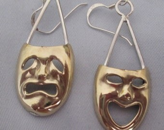 Comedy  and Tragedy Mask Earings Brass Masks and Sterling Silver Sterling Frames and Earhooks
