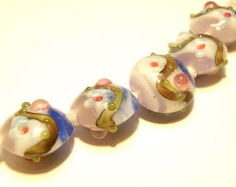 DESTASH -- Five (5) Opaque Swirl Bumpy Lentil Lampwork Beads with Floral Design: Shades of Blue, Pinks, and Purple -- Lot 3J