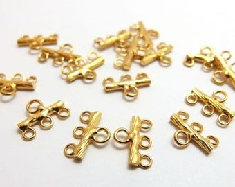 last stock -20% / A611GD / 12Pc / 12mmx8.8mmx2mm - Gold Plated 3 to 1 Hole Multiple Strands Branch-liked Connectors Findings.