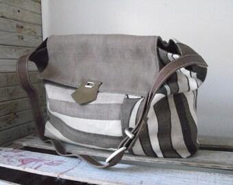 linen bag,  designer fabric, handmade, one of a kind, eco, sustainable fashion, shoulder bag ,large bag