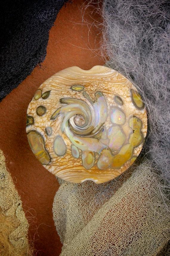 """SRA Lampwork Glass Beads """"River Rock"""" Handmade Organic Lustre & Texture Silver Glass Lentil Focal"""