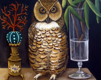 Curious And Wise Original fine art painting Owl