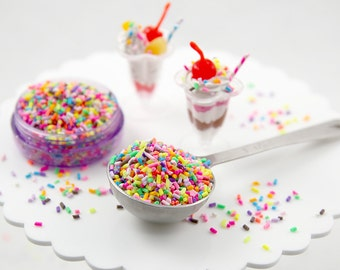 Fake Sprinkles - 48 grams 5mm Bright Fake Sprinkles Colorful Faux Chocolate Topping Candy Flakes Polymer Clay or Fimo Cabochons - 48 g bag