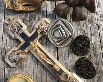 Vintage Mixed Lot of Steampunk Supplies--Destash Supply--Ecletic Supplies--Instant Collection--Buttons--Religious Items--Earring