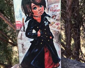 Vintage Big Eye Mod Teen Boy..Frida Idylle  or Frida Jolylle Print..Peace Sign..The Beatles..Sixties..Signed Wall Art..Hippie Boho