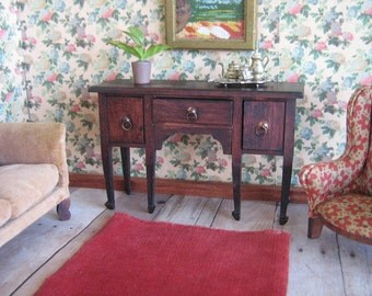 "Antique 1900's German Sideboard for Doll House - Red Stain - 1"" Scale"