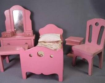 "Vintage Dollhouse Furniture - Strombecker Bedroom Set from 1931 - 1"" Scale"