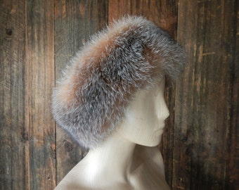 Brown Fox Fur Hat / earmuffs headband / ear warmer