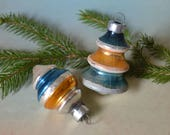 2 Vintage Shiny Brite Blue & Gold Striped Glass Christmas Ornaments