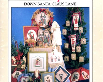 Vintage Cross Stitch Pattern Leaflet - Down Santa Claus Lane - Alma Lynn Designs - Christmas Cross Stitch