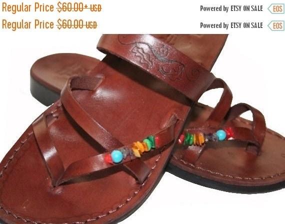 20% OFF 20 Percent OFF Brown Decor Moon Leather Sandals for Men & Women - Handmade Sandals, Leather Flats, Flip Flops, Unisex Sandals, Brown