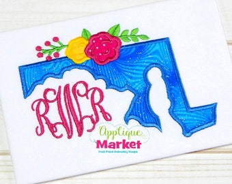 Machine Embroidery Design Embroidery Maryland Flowers Applique INSTANT DOWNLOAD