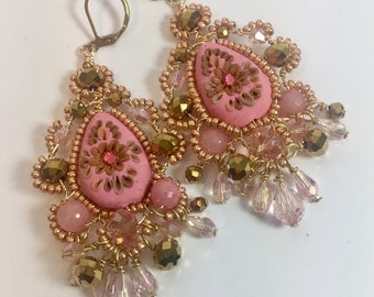 Beautiful pink and gold beaded earrings boho inspire handcrafted.