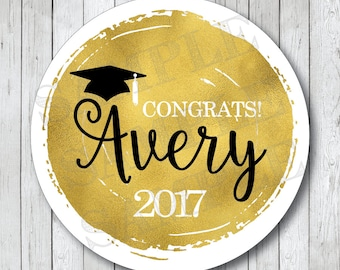 Personalized Faux Gold Foil Graduation Stickers, Graduation Labels, Personalized Graduation Tags