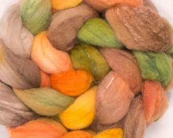Hand painted spinning fibre, British Shetland, Tussah Silk, hand painted top, 100g, spin, felt, Fibre, Roving, colour; Indian Summer