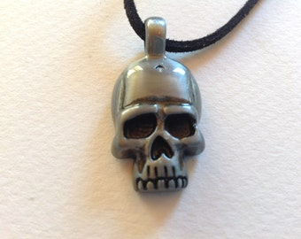 Gunmetal skull necklace