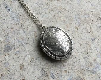 Vintage Locket Necklace, Victorian Silver Locket, Antique Locket, Engraved Silver Pendant, Flower Necklace, Floral Pendant