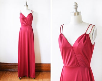 70s disco dress, vintage 1970s maxi dress, raspberry red grecian dress, extra small/small