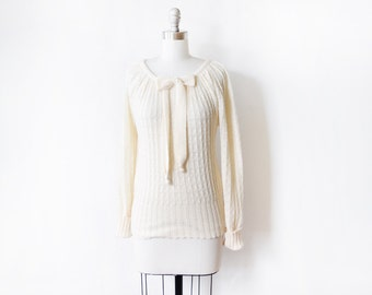vintage cream sweater, 1980s bow sweater, pointelle knit eyelet sweater, medium m