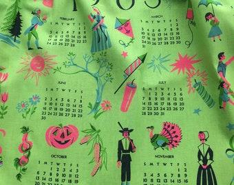 Amazing Vintage 1963 Apron with Snowman, Love Hearts, Kites, Rain, Spring, Picnic Halloween, Christmas, Holidays 60's Retro Linen Fabric