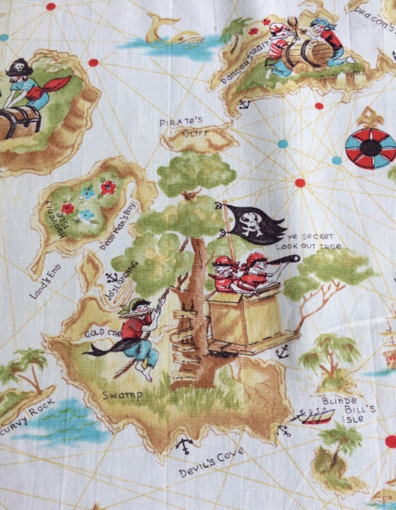 Vintage novelty print fabric pirate children skull for Kids pirate fabric