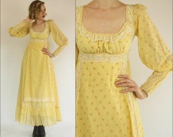 Vintage 60's Gunne Sax Floral Boho Prairie Lace Preppy Yellow Empire Maxi dress XXS XS