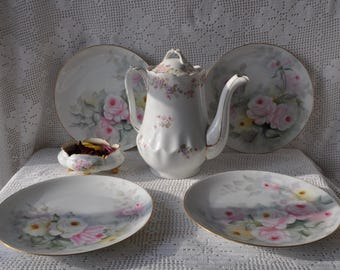 Pink Rose Garden Party Lunch or Tea Plates/Set of Four Vintage Bavarian Plates/With Single Pink Rose Petal Bowl