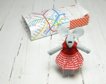 Gift for best friends gift under 25 felt mouse kids gift mice in matchbox stuffed animal stocking stuffer hand made doll Christmas miniature