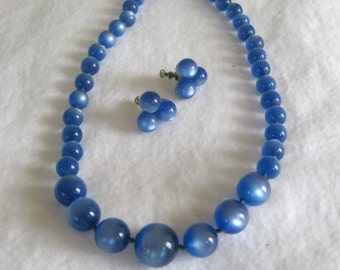 Blue Moonglow Necklace and Earring Set, Lucite Moonglow Beads, Demi Parure