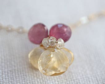 Gold Necklace Yellow and Pink Viola 14k Gold Filled