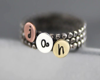 Hip Bead Initial Ring, Bead Ring, Stack Ring, Antiqued Ring, Personalized, Brass, Copper, Custom Initial Ring, Letter Ring, Bridesmaid Ring
